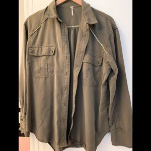 Free People women's button down olive green shirt